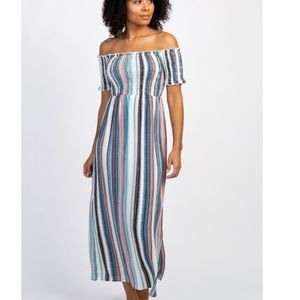 Off the shoulder striped maxi dress